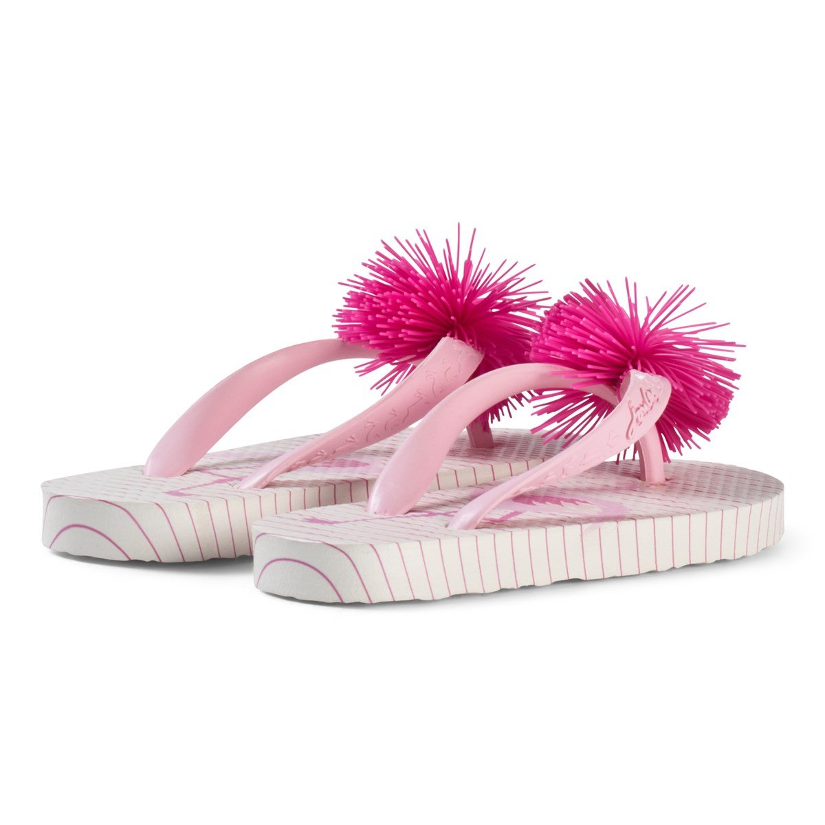 cc14df0db22c38 Tom Joule - Pink Flamingo and Stripe Print Pom Pom Flip Flops - Babyshop.com