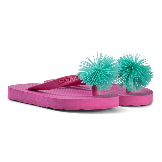 Tom Joule Pink and Green Pom Pom Flip Flops PARISIAN PINK