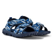 Tom Joule Blue Shark and Stripe Printed Active Sandals Shark Dive Stripe