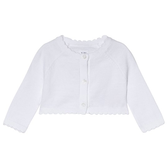 Gap Scalloped-Hem Crop Cardigan Vit OPTIC WHITE