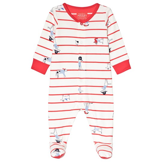 Tom Joule Cream and Red Stripe Dog Print Footed Baby Body SEA DOG STRIPE