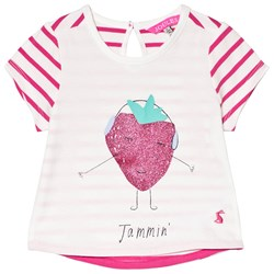 Joules Cream and Pink Stripe Glitter Strawberry Tee