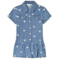 Little Marc Jacobs Blue Chambray Shirt Dress with Heart Embroidery Z22