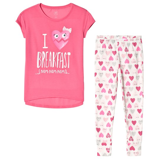 Gap Heart Kortärmad Pyjamas Set Shocking Pink Shocking Pink