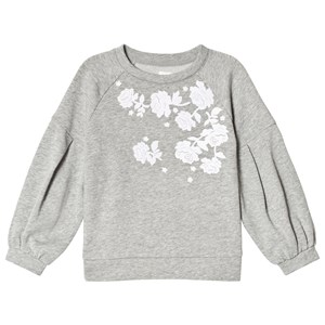 Image of GAP Grey Heather Floral Balloon-Sleeve Sweater M (8 år) (2970787889)