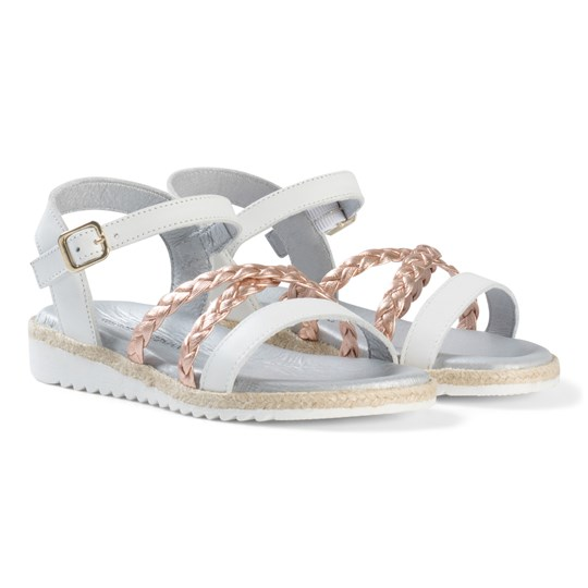 Stuart Weitzman Rose Gold Plait Strappy Buckled Sandals Copper