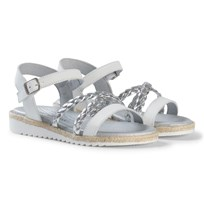 Stuart Weitzman Silver Plait Strappy Buckled Sandals Серебряный