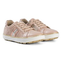 Stuart Weitzman Nude Pink Side Embellished Lace Up and Zip Trainer with Metallic Back MAKE UP