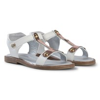 Stuart Weitzman White with Rose Gold T Bar Velcro Sandals Copper