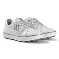 Stuart Weitzman White Silver Embellished Velcro Strap Trainer with Metallic Back White