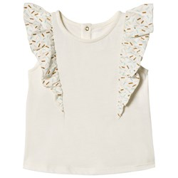 Blune Blouse with Printed Flounces Craie