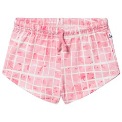 Noe & Zoe Berlin Pink Grid Print Sweat Shorts