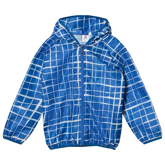 Noe & Zoe Berlin Blue Grid Print Windbreaker SWIMMING POOL