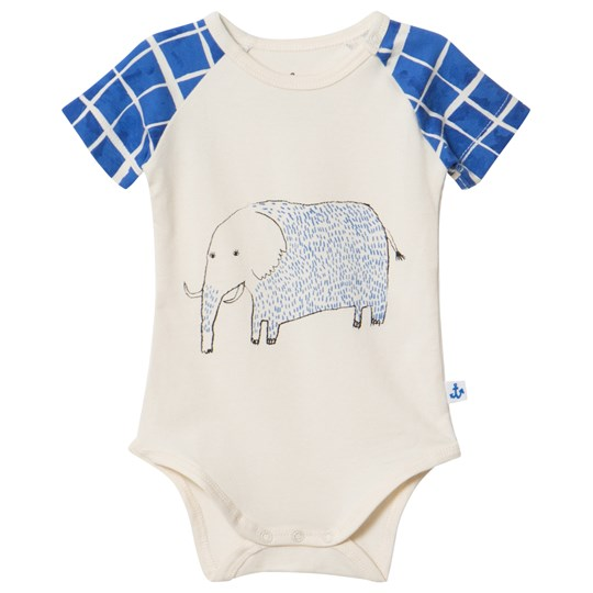 Noe & Zoe Berlin Elephant Print Baby body Off White ELI
