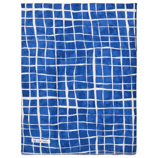 Noe & Zoe Berlin Blue Grid Print Large Swaddle SWIMMING POOL