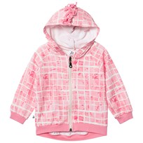 Noe & Zoe Berlin Pink Grid Print Zip Sweat Hoodie PINK POOL