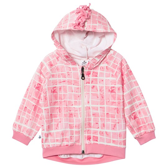 Noe & Zoe Berlin Pink Grid Print with Fringing Full Zip Sweat Hoodie PINK POOL