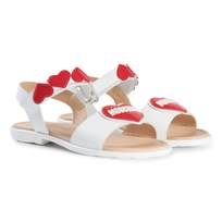 Moschino Kid-Teen White Heart and Logo Sandals 9101