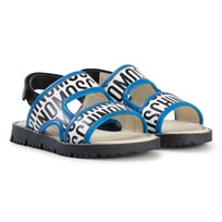 Moschino Kid-Teen White and Blue Logo Sandals 9102
