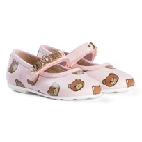 Moschino Kid-Teen Pink Bear and Gold Logo Leather Pumps 9101