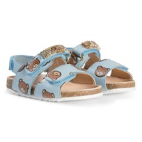 Moschino Kid-Teen Pale Blue Bear and Gold Logo Leather Sandals 9103