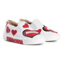 Moschino Kid-Teen White Heart and Logo Slip On Trainers 9101