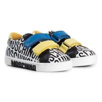 Moschino Kid-Teen White All Over Branded Velcro Trainers 9101