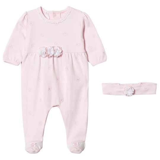 Emile et Rose Mandy Pink Flowers Footed Baby Body Pink