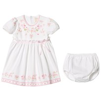 Emile et Rose White and Pink Floral and Bow Dress White