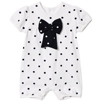 Emile et Rose White and Navy Spot Bow Bubble White
