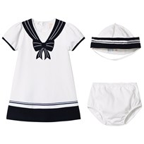 Emile et Rose White and Navy Jersey Sailor Dress and Hat White