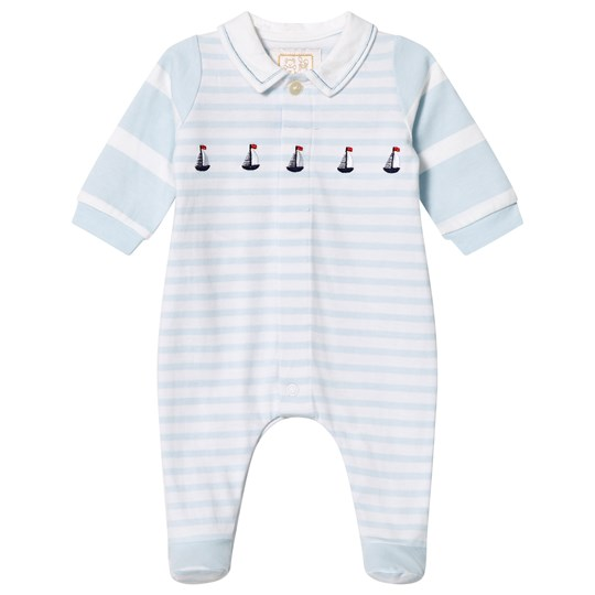 Emile et Rose Mark Blue Striped Nautical Footed Baby Body Pale Blue