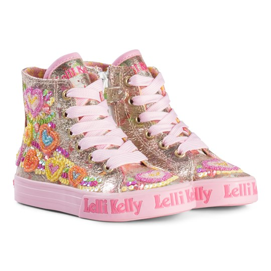 Lelli Kelly Gold Heart Sequin and Embroidered Mid Trainers Multi