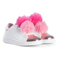 Lelli Kelly White and Metallic Pink Pom Pom Trainers WHITE PINK