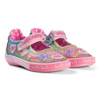 Lelli Kelly Rainbow Hearts Glitter Beaded Dolly Velcro Shoes MULTI GLITTER