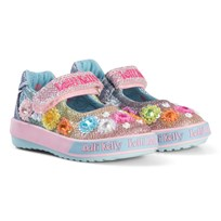 Lelli Kelly Multi Glitter Millesoli Flower Applique Dolly Shoes RAINBOW MILLESOLI