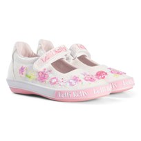 Lelli Kelly White and Pink Butterfly Glitter Dolly Shoes WHITE GLITTER BUTTERFLY