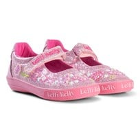 Lelli Kelly Pink Butterfly Glitter Embroidered Dolly Shoes WHITE GLITTER BUTTERFLY