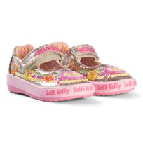 Lelli Kelly Pink and Gold Heart Sequin Embroidered Dolly Shoes Multi