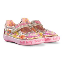 Lelli Kelly Gold Heart Sequin and Embroidered Mila Dolly Shoes Multi