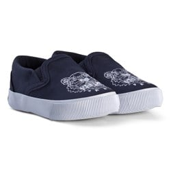 Kenzo Navy and White Tiger Slip Ons