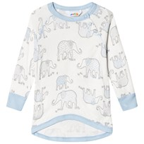 Joha Blue and White Elephant Print Sweatshirt White