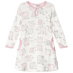 Joha Pink and White Elephant Print Long Sleeve Dress