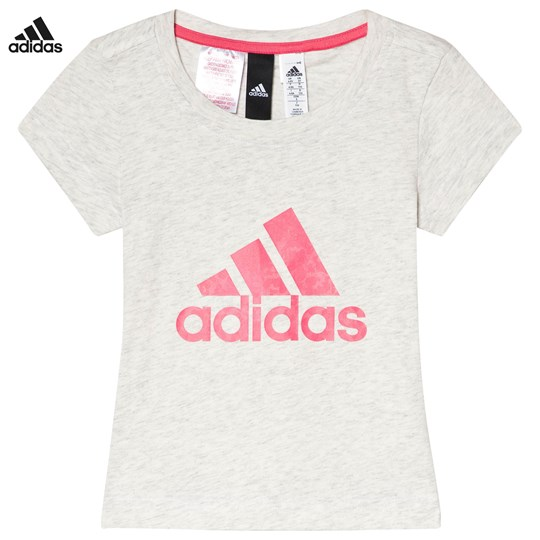 7b5e46329a8482 adidas Performance White and Pink Logo Tee WHITE MELANGE CHALK PINK  S18 REAL PINK
