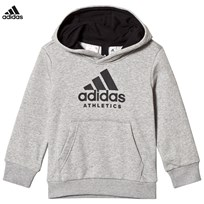 adidas Performance Grey Branded Hoodie MEDIUM GREY HEATHER/BLACK