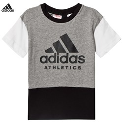 adidas Performance Branded Colour Block Tee Grey