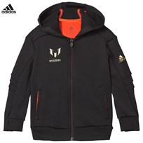 adidas Performance Black Full Zip Messi Hoodie BLACK/SOLAR RED