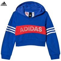 adidas Performance Blue and Coral Branded Crop Hoodie HI-RES BLUE S18/REAL CORAL S18/WHITE