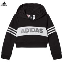adidas Performance Black and White Branded Crop Hoodie BLACK/WHITE/WHITE
