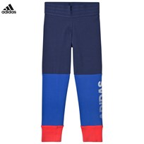 adidas Performance Blue and Coral Branded Leggings NOBLE INDIGO S18/HI-RES BLUE S18/REAL CORAL S18/WH